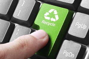 Keyboard with Recycle symbol on Key